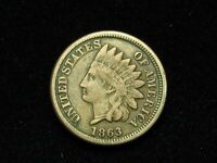 NEW INVENTORY!! XF 1863 INDIAN HEAD CENT PENNY w/DIAMONDS & PARTIAL LIBERTY 195s