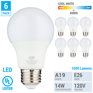 6 Pack LED Bulbs 15W 100W 120V A19 E26 Non-Dimmable 1500 Lumens 4000k Cool White