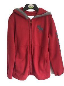 Kids Red/Grey Abercrombie Kids A&F Long Sleeve Full Zip Hoodie - Age 7-8yrs