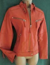 New BUTTERSOFT LEATHER UK 12-14 Burnt Orange Fitted Hip Zipped Biker Coat Jacket