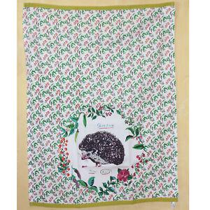 Anthropologie Nathalie Lete Hedgehog Compagnon Dish Towel NWT Lime Green Rare