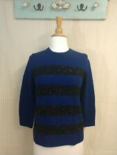 New Ann Taylor Womens Sweater Medium Blue Black Striped 3/4 sleeve Pull Over