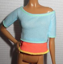 TOP ~ BARBIE DOLL MADE TO MOVE BLUE ORANGE BRIGHT YOGA SHIRT ACCESSORY CLOTHING