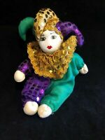 "Doll Figurine~Clown Jester Mardi Gras~Porcelain Head Hand Painted~ 9"" Long"