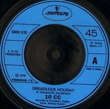 "10CC dreadlock holiday 7"" WS EX/- uk mercury 6008 035 blue moulded plastic label"
