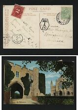 Great Britain post card to Us postage due Mm1104