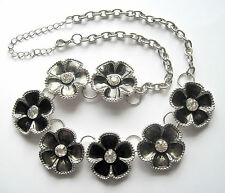 Big Flower Floral Silvertone Black Clear Rhinestone Necklace FREE US SHIPPING