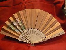 ancien eventail fan abanico ventaglio epoque 19 eme soie peinte signé chevriere