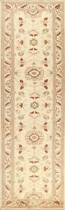 IVORY 10 ft Geometric Peshawar Oriental Runner Rug Hand-knotted Staircase 3'x10'