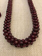 Antique Hand Strung Art Deco Garnet Bead Rope Necklace Choker Silk Thread Tassel