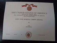 ^(U012) Original US Urkunde  Certificate Navy and Marine Corps Medal RAR!!