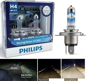 Philips Racing Vision 200% 9003 HB2 H4 60/55W Two Bulbs Head Light High Low Lamp