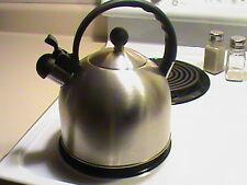 "brushed stainless steel teapot tea kettle 7"" diameter FREE SHIP MAKE OFFER #T1"