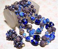 Vintage Japan Blue Purple Art Glass Bead Necklace Earrings Set Multi Strand 517