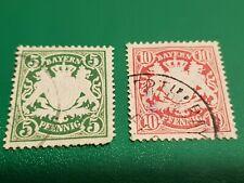 2 briefmarken Bayern  5 pfennig  und 10 bayern  pfennig