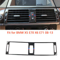 1pcs Carbon Fiber Center Air Vent Outlet Cover Trim For BMW X5 X6 E70 E71 08-13