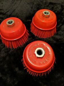 "6"" Cup Brush, Nylon Filament, 5/8""-11 Thread, 2500 max. RPM 3-PK Lot of 3 NEW"