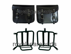 Royal Enfield Meteor 350 Leather Saddle Bags Glossy Black With Mounting Pair
