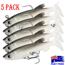5x Soft Plastic Vibe Lures Poddy Mullet Flathead Jig Heads Barra Cod Fishing