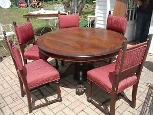 """Antique 1890's Tiger Oak Hastings 54"""" Round Table & Chairs Paw Feet horner style"""
