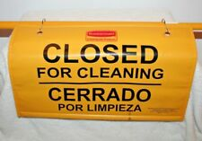 Rubbermaid Commercial Hanging Safety Sign Closed For Cleaning W Rod Multilingual