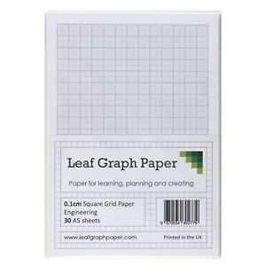 A5 Graph Paper 1mm 0.1cm Squared Engineering, 30 Loose-Leaf Sheets, Grey Grid