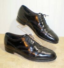 Stetson Mans Shoes Black Wing Tip 9 Narrow Leather Lace Up Oxford