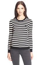 new AUTH 100% Burberry Brit Stripe Crewneck Cashmere Sweater BLACK WHITE