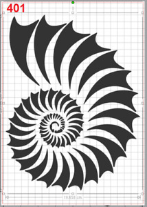 Ammonites Shell Fossil Stencil MYLAR A4 sheet strong reusable Craft Wall Deco