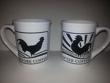 Set of 2 ROOSTER COFFEE MUGS FUNNY NWOT NEVER USED BLACK/WHITE