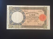 BANCONOTA LIRE 50 LUPA FASCIO L' AQUILA 13 2 1943 BB+ NUM SABAUDA