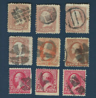 FANCY CANCELS LOT EARLY U.S. GREAT COLLECTION OF 9 STAMPS