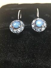 Liz Palacios Earrings blue opaline Swarovski silvertone Leverbacks dainty