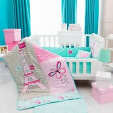 EIFFEL TOWER BABY GIRLS CRIB BEDDING SET NURSERY 6 PCS FOR BABY SHOWER GIFT
