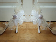 """Bridal Curled Peacock Goose Feather Crystals White Cream Shoe Clips """"Lena"""" Pair"""