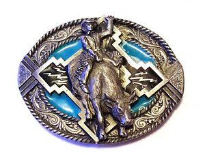 "Vintage 1996 Pewter Enameled 3.5"" Belt Buckle Rodeo Cowboy H-256 Bergamot USA"