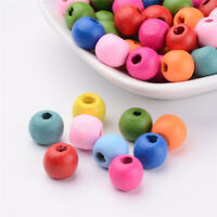 100 Pcs Round Dyed Wood Beads Craft Mixed Color Jewellery Making 10x9mm Hole 3mm