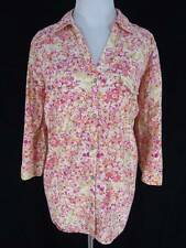 Sonoma Top 1X Watercolor Floral Yellow Pink Orange White Beige Button Blouse