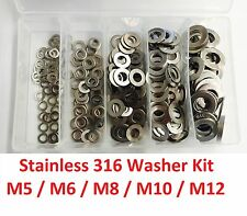 Qty 225 Flat Washer Kit M5 M6 M8 M10 M12 Stainless Steel Grade SS 316 A4