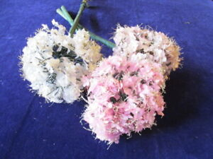 """Vintage Millinery Flower Collection Pink White 5"""" Allium 3pc on Long Stem Y232C"""