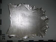 #251; Ziegenleder, Ziegen Leder, Ziegenvelour, Silber-Metallic, Bekleidungsleder