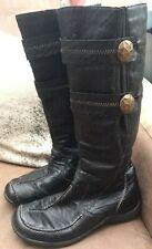 Ladies RIEKER Boots Black Leather Casual Calf Length Fleece Lined UK 5 EU 38
