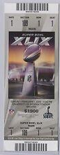 2015 Super Bowl XLIX Ticket Sec109Row1Seat1 50yd Tom Brady Patriots Seahawk LOOK