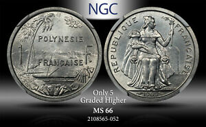 1965 POLYNESIA 1 FRANC NGC MS66 ONLY 5 GRADED HIGHER #B