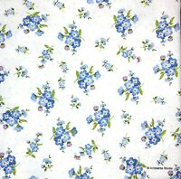 3 x Single Paper Napkins For Decoupage Blue Forget-Me-Not Flowers on White M341