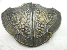 ANTIQUE VINTAGE ESTATE ART NOUVEAU 2 PC. ORNATE GRAPES DOUBLE BELT DRESS BUCKLE