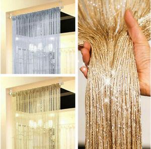 Door String Curtain Net Fly Screen Room Divider Window Panel Tassel Fringe Beads