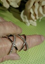 Index Finger Ring Criss Cross Style with Rhinestones Sz 8