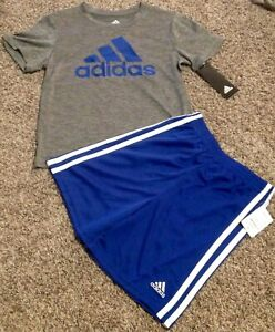 Adidas Boy Set Size 6 7 Casual Two Pieces Blue Gray New