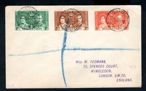 Trinidad & Tobago - 1937 KGVI Coronation Registered Cover